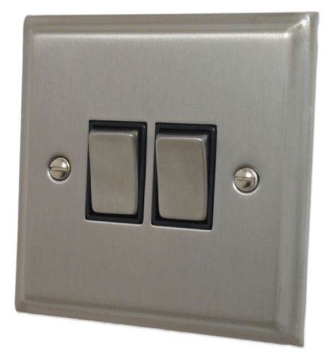 G&H DSN302 Deco Plate Satin Nickel 2 Gang 1 or 2 Way Rocker Light Switch